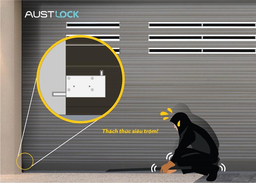 Austlock - Giải pháp khoá thông minh chống cạy cửa cuốn Austdoor giá ưu đãi 2.800.000vnđ/bộ